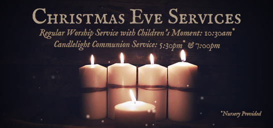 Services will be held at 10:30am, 5:30pm, and 7:00pm.